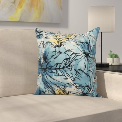 Memmott Floral Print Throw Pillow Color: Teal, Size: 16 x 16