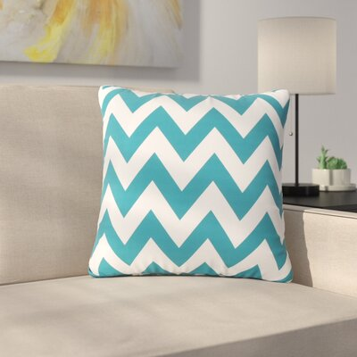 Mayhew Square Outdoor Throw Pillow Color: Dark Teal/White