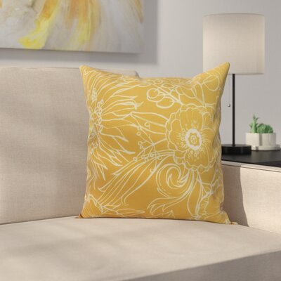 Derick Floral Print Throw Pillow Color: Gold, Size: 26 x 26