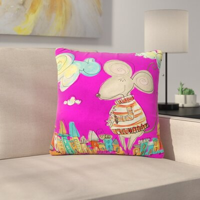 Carina Povarchik Urban Mouse Outdoor Throw Pillow Color: Magenta, Size: 16 H x 16 W x 5 D