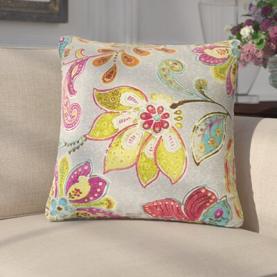 Filippo Floral Cotton Throw Pillow Color: Blossom