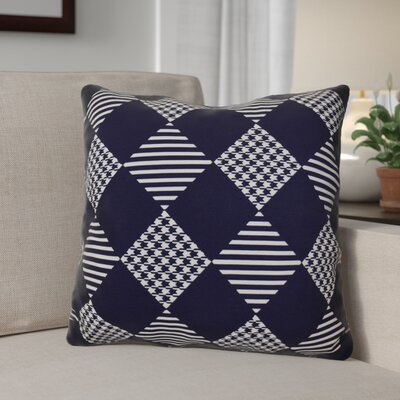 Geometric Outdoor Throw Pillow Size: 16 H x 16 W, Color: Navy Blue