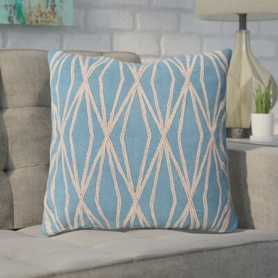 Chan 100% Cotton Throw Pillow Size: 18 H x 18 W x 4 D, Color: Aqua, Filler: Down
