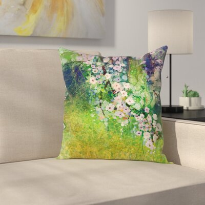 Japanese Decor Cherry Blossom Square Pillow Cover Size: 18 x 18