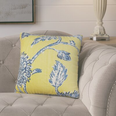 Monegro Floral Throw Pillow Cover Color: Blue Yellow