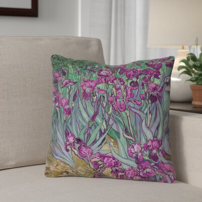 Morley Irises Indoor/Outdoor Throw Pillow Color: Purple/Green, Size: 16 x 16