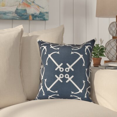 Hancock Anchors Up Geometric Print Throw Pillow Size: 18 H x 18 W, Color: Navy Blue