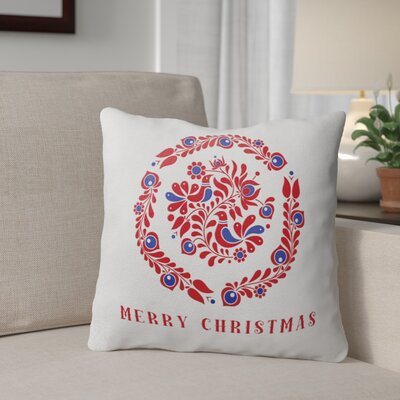 Merry Christmas Birds Outdoor Throw Pillow Size: 18 x 18