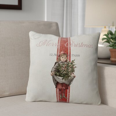 Kendele Christmas Girl Outdoor Throw Pillow Size: 18 x 18