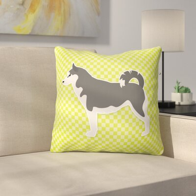 Siberian Husky Indoor/Outdoor Throw Pillow Size: 14 H x 14 W x 3 D, Color: Green