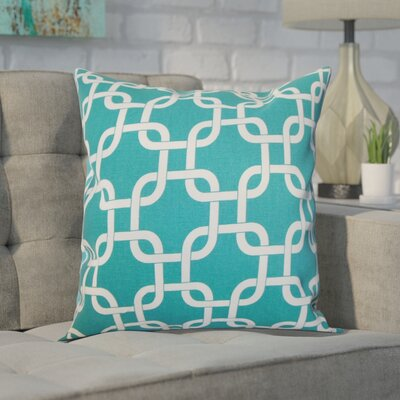 Sessums 100% Cotton Throw Pillow Color: Turquoise, Size: 18 H x 18 W