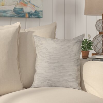 Boubacar Marled Knit Stripe Geometric Print Outdoor Throw Pillow Size: 18 H x 18 W, Color: Gray