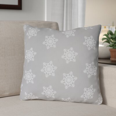 Snowflake Indoor/Outdoor Throw Pillow Size: 18 H x 18 W x 4 D, Color: Gray / White