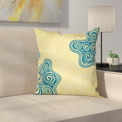 Vintage Floral Spiral Square Pillow Cover Size: 18 x 18