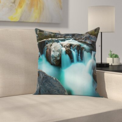 Waterfall Basalt Rocks Square Pillow Cover Size: 24 x 24