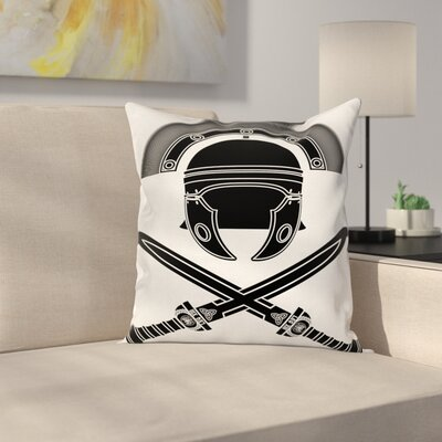 Roman Helmet Swords Square Cushion Pillow Cover Size: 18 x 18
