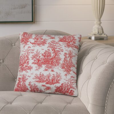 Andruska Toile Cotton Throw Pillow Color: Red/White