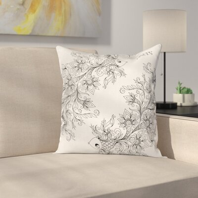Floral Astrology Pisces Sign Square Pillow Cover Size: 18 x 18