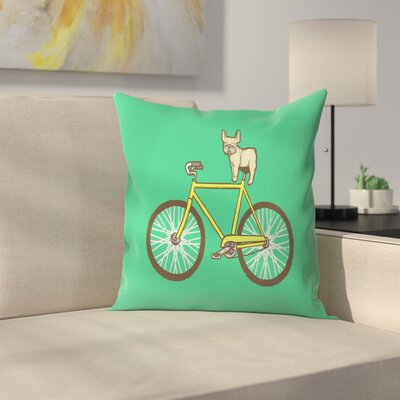 Joe Van Wetering Frenchie on a Fixie Throw Pillow Size: 18 x 18