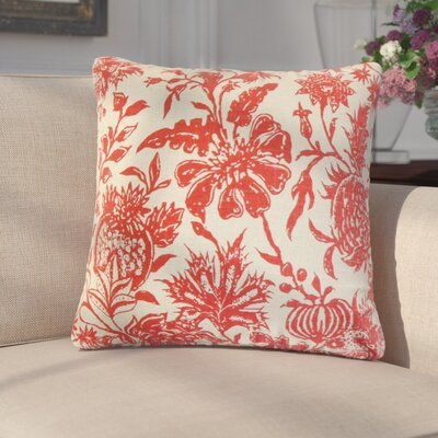 Giuseppina Floral Linen Throw Pillow Color: Red