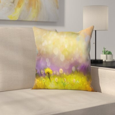 Floral Dandelion Field Square Pillow Cover Size: 18 x 18