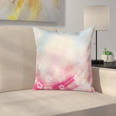 Modern Blossoms Flowers Buds Cushion Pillow Cover Size: 24 x 24
