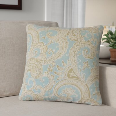 Zaritt Paisley Cotton Throw Pillow Color: Blue