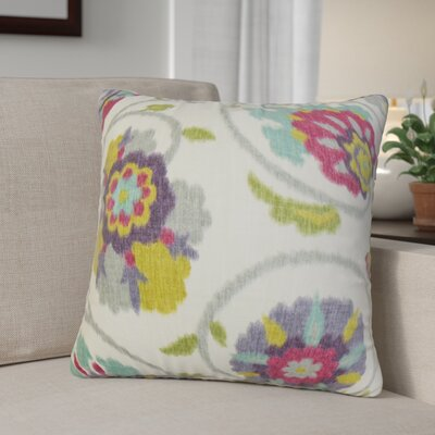 Aspendale Floral Cotton Throw Pillow Color: Red Jade, Size: 18 x 18