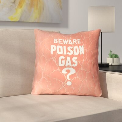 Square Vintage War Poison Gas Throw Pillow with Concealed Zipper Size: 16 x 16