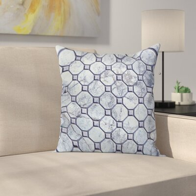 Retro Marble Mosaic Square Pillow Cover Size: 16 x 16