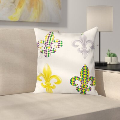Mardi Gras Fleur De Lis Motifs Square Cushion Pillow Cover Size: 16 x 16