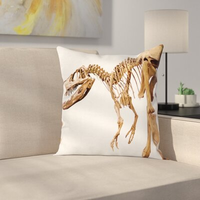 Dinosaur Archeology Theme T-Rex Square Cushion Pillow Cover Size: 18 x 18