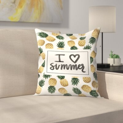 Jetty Printables I Love Summer Pineapple Art Throw Pillow Size: 18 x 18