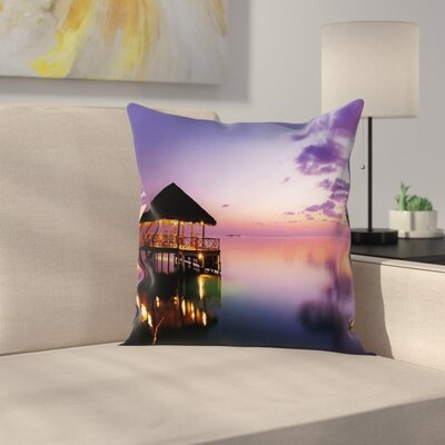 Arbor with Lights Sea Square Pillow Cover Size: 16 x 16