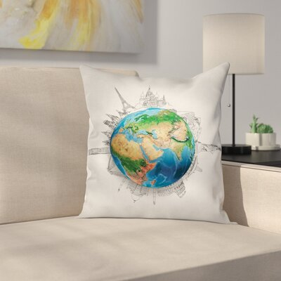 Earth Realistic Globe Planet Square Pillow Cover Size: 18 x 18