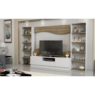 Gower 78 Entertainment Center Color: Teak/White