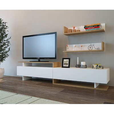 Cabello 71 TV Stand Color: Teak/White