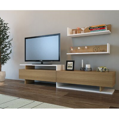 Cabello 71 TV Stand Color: White/Teak