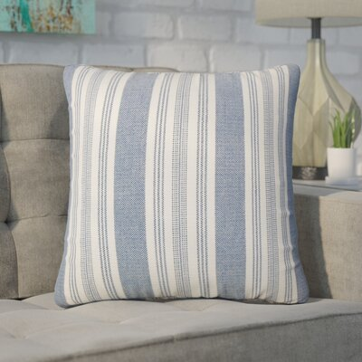 Wallin Striped Cotton Throw Pillow Color: Denim