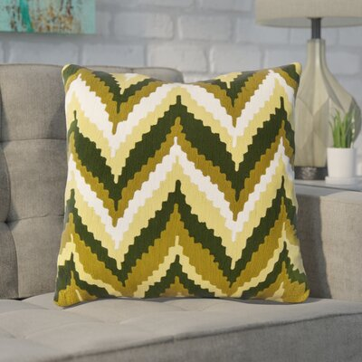 Stallworth Cotton Throw Pillow Size: 18 H x 18 W x 4 D, Color: Olive Oil / English Ivy / Olive / Winter White, Filler: Down