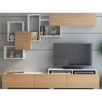 Gowen 82 Entertainment Center Color: Teak/White
