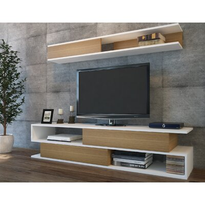Sandell 71 TV Stand Color: White/Teak