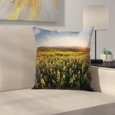 Sunset Flower Field Cushion Pillow Cover Size: 18 x 18