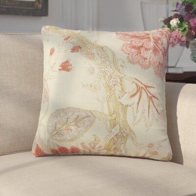 Ghita Floral Linen Throw Pillow Color: Pink