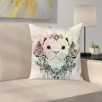 French Bulldog Flowers Square Pillow Cover Size: 18 x 18