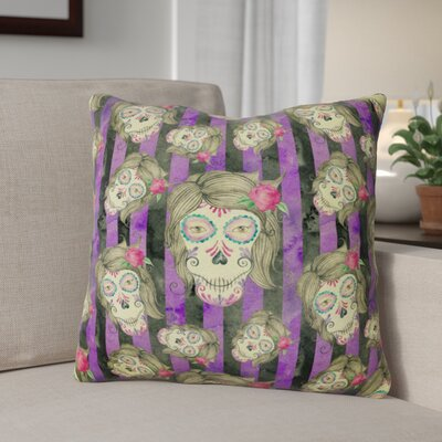 Watecolor Day of the Dead Halloween Outdoor Throw Pillow
