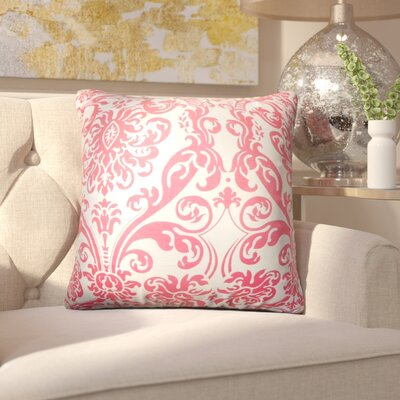 Chessani Damask Cotton Throw Pillow Color: Pink