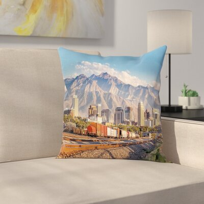 Salt Lake City Utah USA Square Pillow Cover Size: 18 x 18