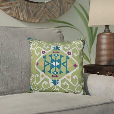 Meetinghouse Jodhpur Medallion Geometric Print Throw Pillow Size: 26 H x 26 W, Color: Green