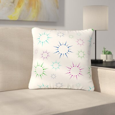 Rainbow Fireworks Throw Pillow Size: 18 H x 18 W x 6 D, Color: White